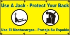 Spanish - Protect Your Back, Use a Jack Banner