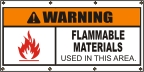 Warning Flammable Materials Banner