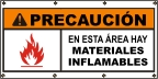 Spanish - Caution Flammable Materials Banner