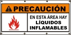 Spanish - Caution Flaamable Liquids Banner