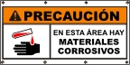 Spanish - Caution Corrosive Materials Banner