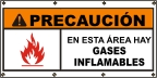 Spanish - Caution Flammable Gases Banner