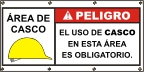 Spanish - Danger Hard Hat Area Banner